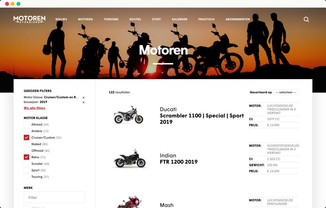 motoren en toerisme - motoren catalogus