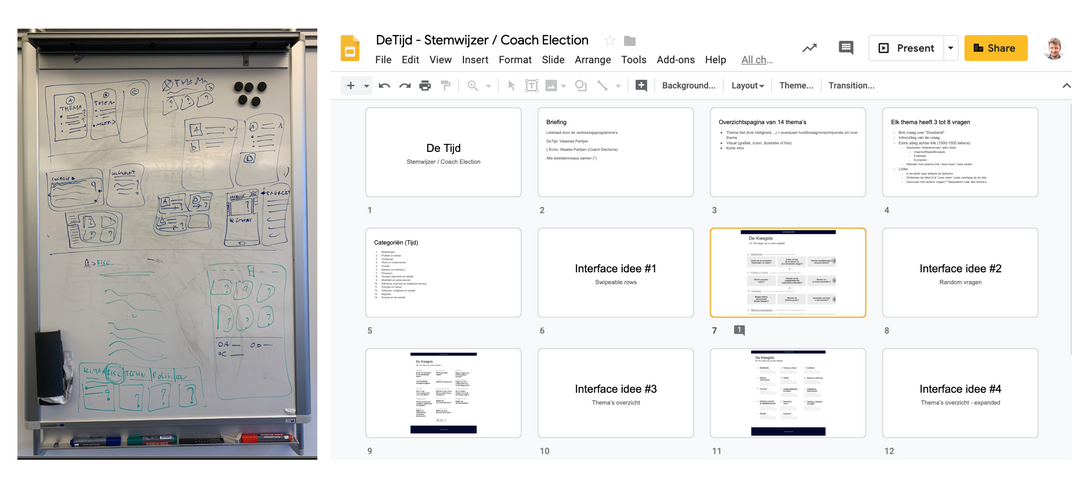 Whiteboard sketching & Lo Fi prototypes in Google Presentations