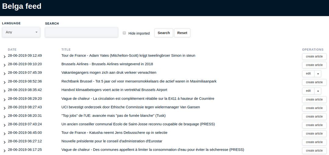 Backend interface van de geïmporteerde Belga artikels