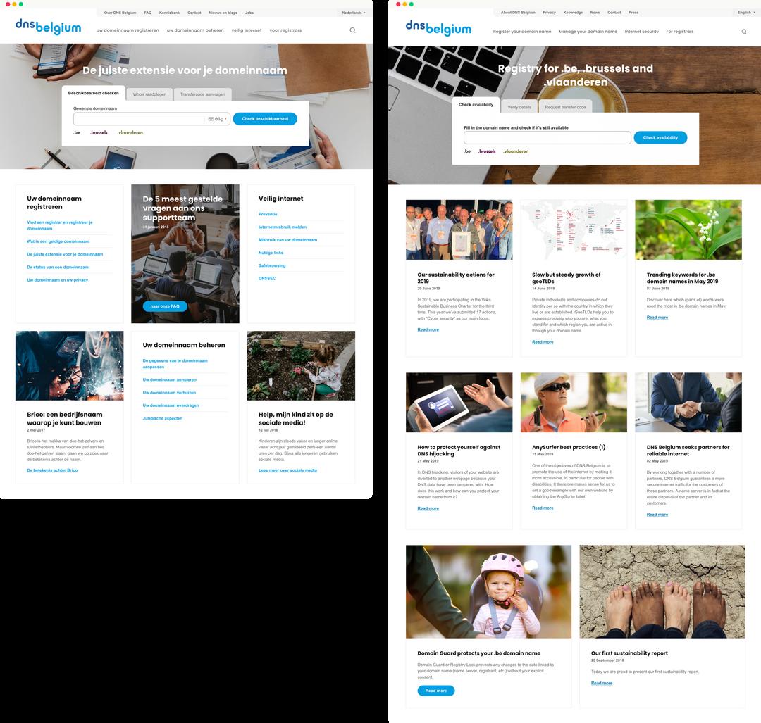 DNS Belgium homepage design vs. productie