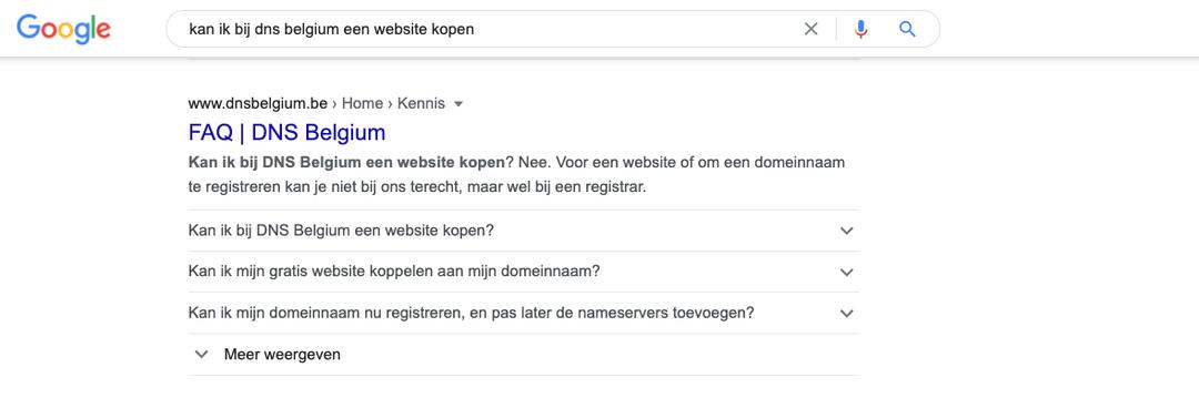 DNS Belgium rich snippets
